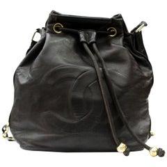 90s Chanel Vintage Black Leather Bag