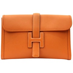 Hermes Clutch Jige Epson Orange Leather