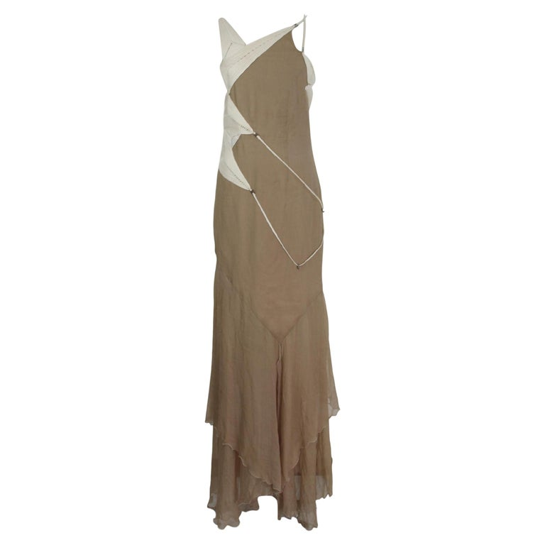 Angelo Mozzillo Dress Silk Long Maxi Evening Vintage Beige, 1990s For Sale