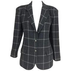 Gucci Charcoal Windowpane Check Wool Cashmere Blazer 1980s