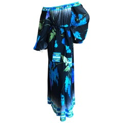 Leonard Paris Vintage Silk Jersey Poet Sleeve Long Dress with Sash