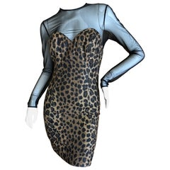Christian Dior Gianfranco Ferre Numbered Demi Couture Velvet Leopard Print Dress