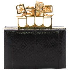 Alexander McQueen Poppy Cage Knuckle Box Clutch Python Small
