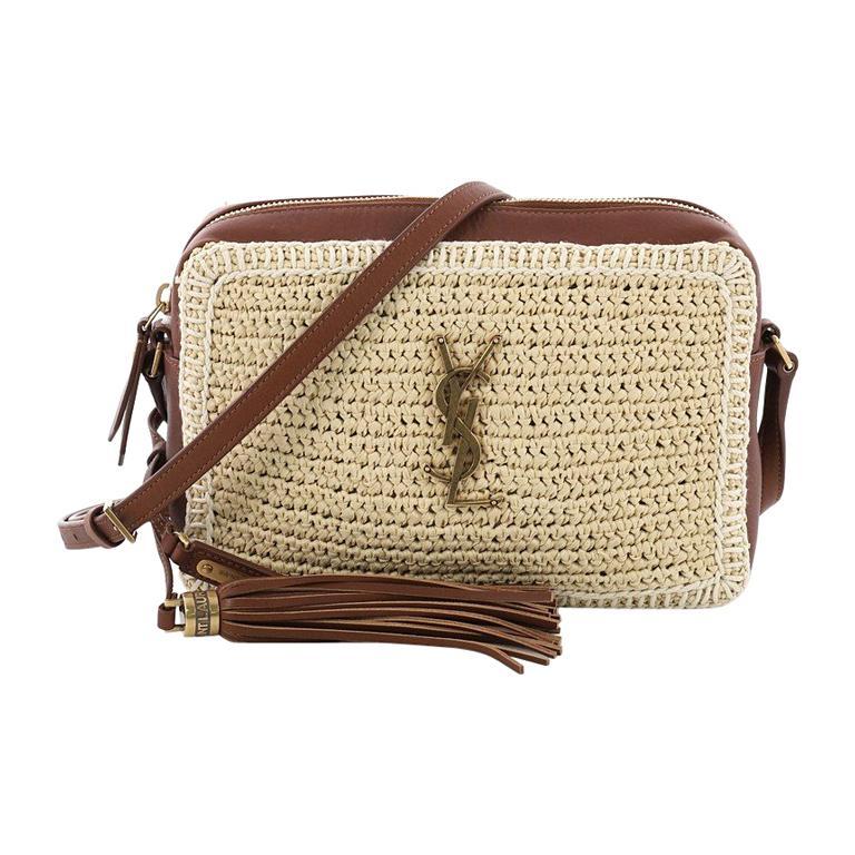 Saint Laurent Lou Camera Bag Woven Raffia Small At 1stdibs