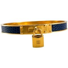 Hermes Blue Lizard Gold-Plated Cadena Padlock Kelly Bracelet