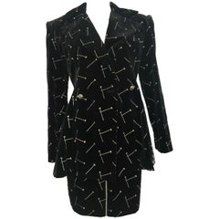 Patrick Kelly 1988 Black Velvet 'Nail' Skirt Suit Size 4.