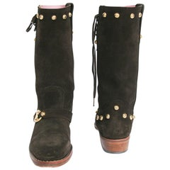 CELINE Boots in Brown Velvet Calfskin Size 36