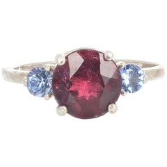 Rubelite Tourmaline and Blue Sapphire Sterling Silver Ring
