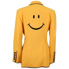 "1992 Moschino Couture Yellow ""Smiley Face"" Black Piping Jacket"