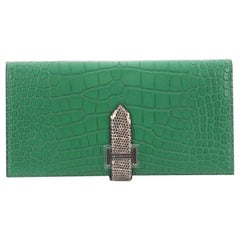 Hermes Bearn Wallet Matte Alligator with Lizard Long