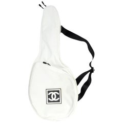 Chanel Collectors Off White Canvas Tennis Racquet Cover Bag w/ CC Logo