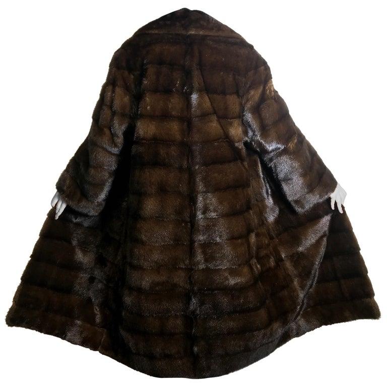 Long mink fur coat. Crosswise cut. Silk mink dark brown (17) For Sale