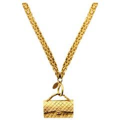 Chanel '90s Vintage Goldtone Chain-Link Necklace W/ Flap Bag Pendant
