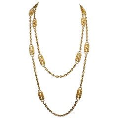 JBK Jacqueline Kennedy Gold Tone Rhinestone Double Strand Paperclip Necklace