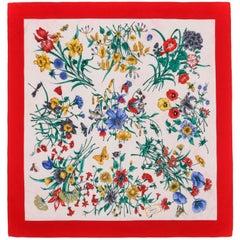 """GUCCI c.1970s Vittorio Accornero Red Iconic """"Flora"""" Print Silk Scarf"""