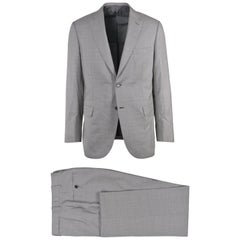 Brioni Mens Two Button Grey Silk Checkered Brunico Suit