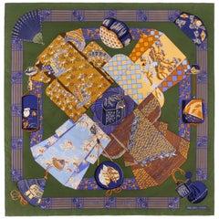 "HERMES Annie Faivre c.1986 ""Kimons et Inros"" Japanese Kimono Print Silk Scarf"