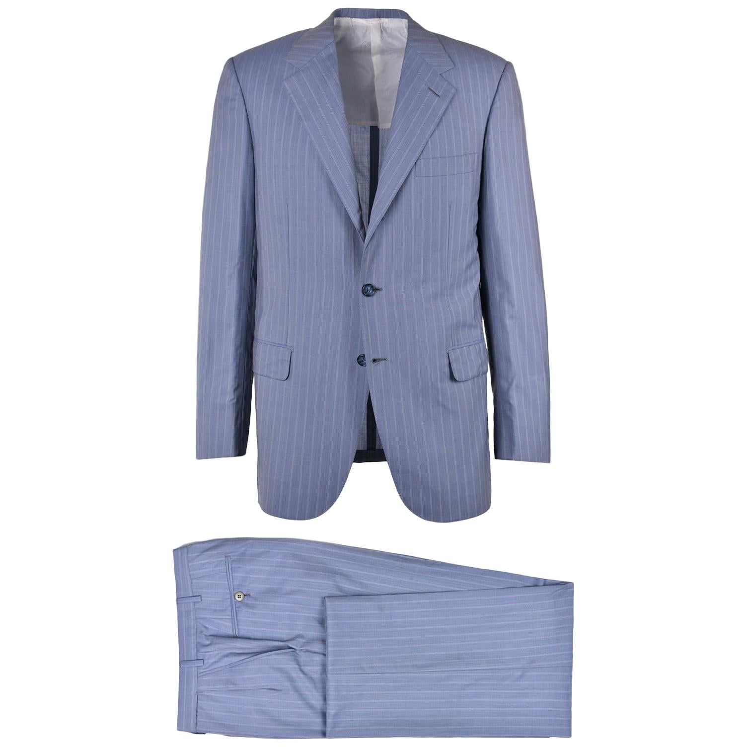 Brioni Men Three Button Blue Wool Pin Striped Senato Suit For Sale Tailored Jacket With Twin Buttons At 1stdibs