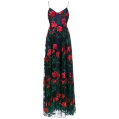 Adam Selman Rose Embroidered Tulle Gown