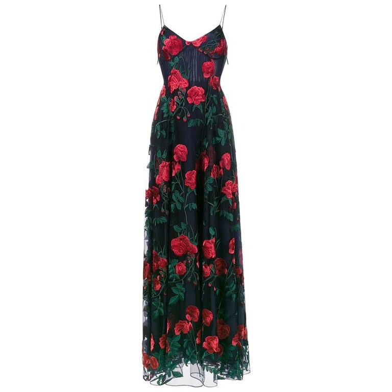 Adam Selman Rose Embroidered Tulle Gown  For Sale