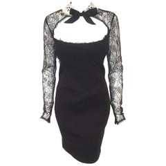 French/Victorian Style Black Lace Collar & Sleeves, Tapered Runway Dress