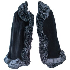 MAXIMILLIAN Black Velvet Cape with Cascading Ruffle Trim