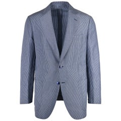 Brioni Men Blue Striped Linen Textured Piuma Sportcoat