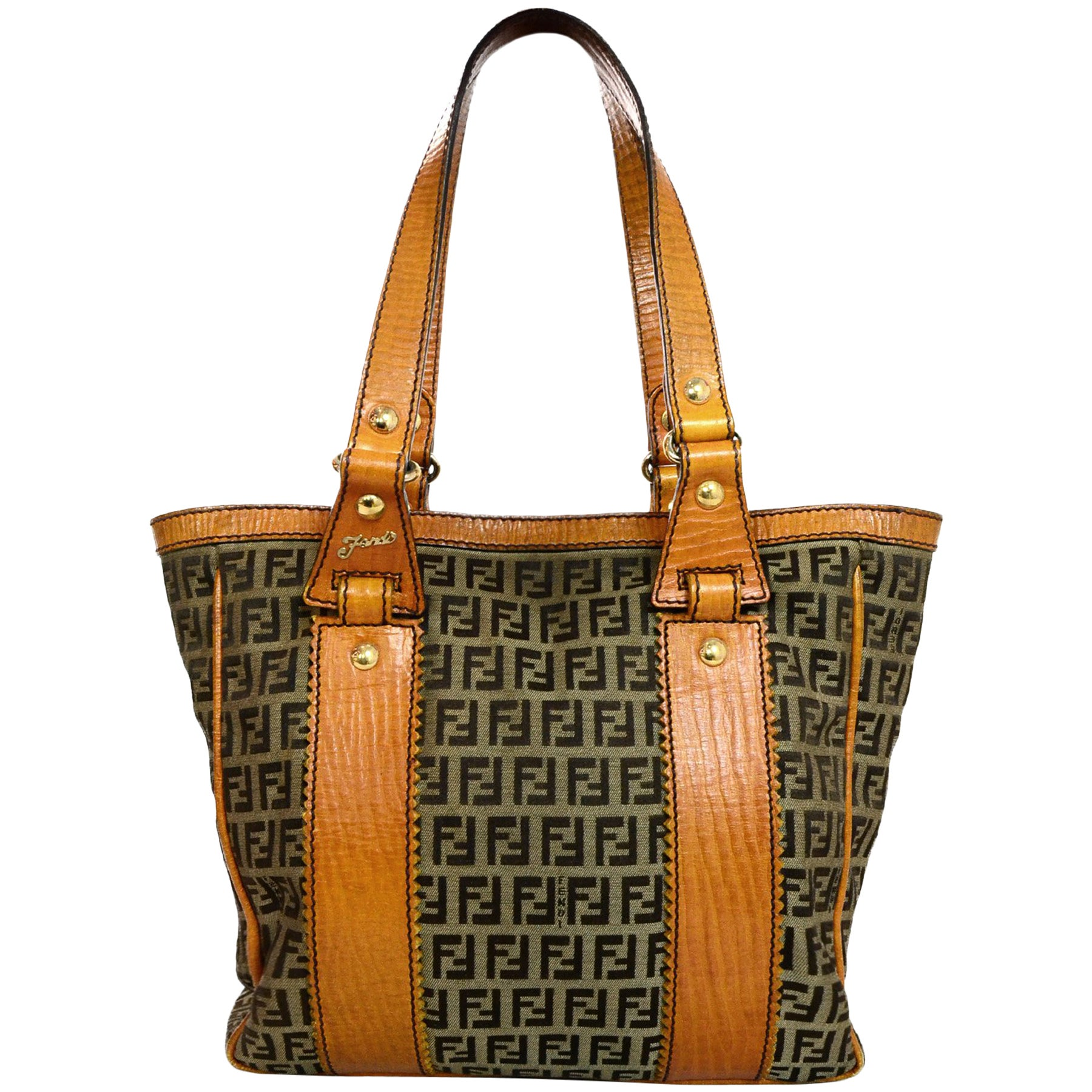 19100df61b Fendi Brown Canvas Monogram Zucca Tote Bag W  Orange Leather Trim For Sale  at 1stdibs