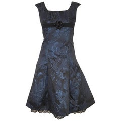Carolina Herrera Black & Blue Metallic Brocade Feminine Cap Sleeve Dress