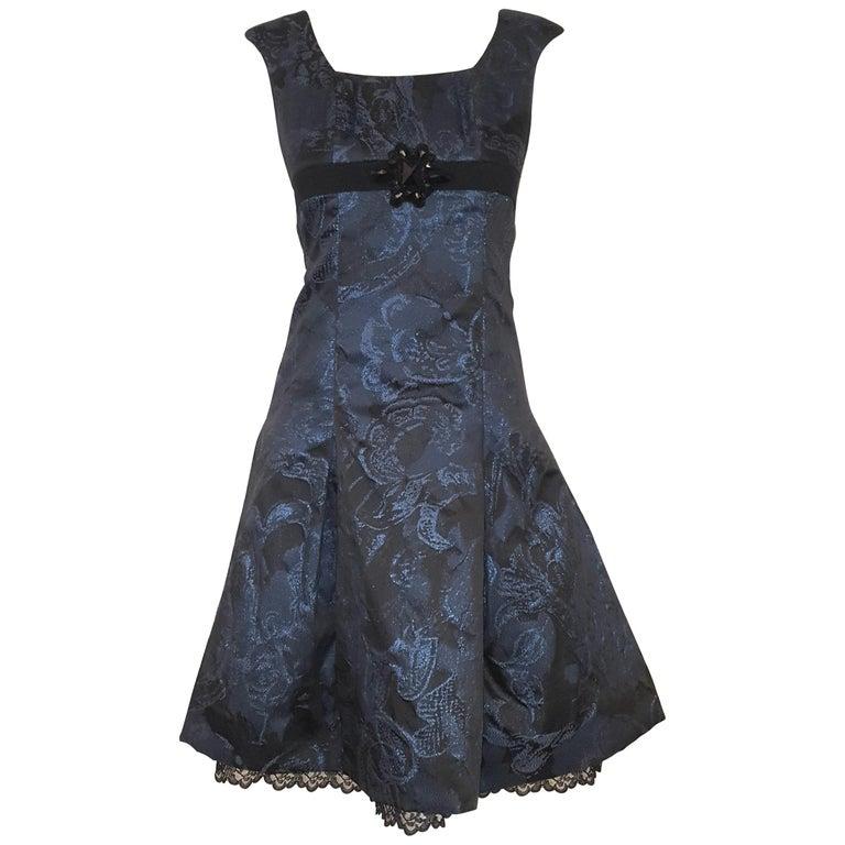 Carolina Herrera Black & Blue Metallic Brocade Feminine Cap Sleeve Dress  For Sale