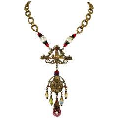 Circa 1920s to 1930s Czechoslovakian Egyptian Revival Necklace