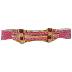 JUDITH LEIBER Pink Snakeskin Belt with Gold Hardware Adjustable