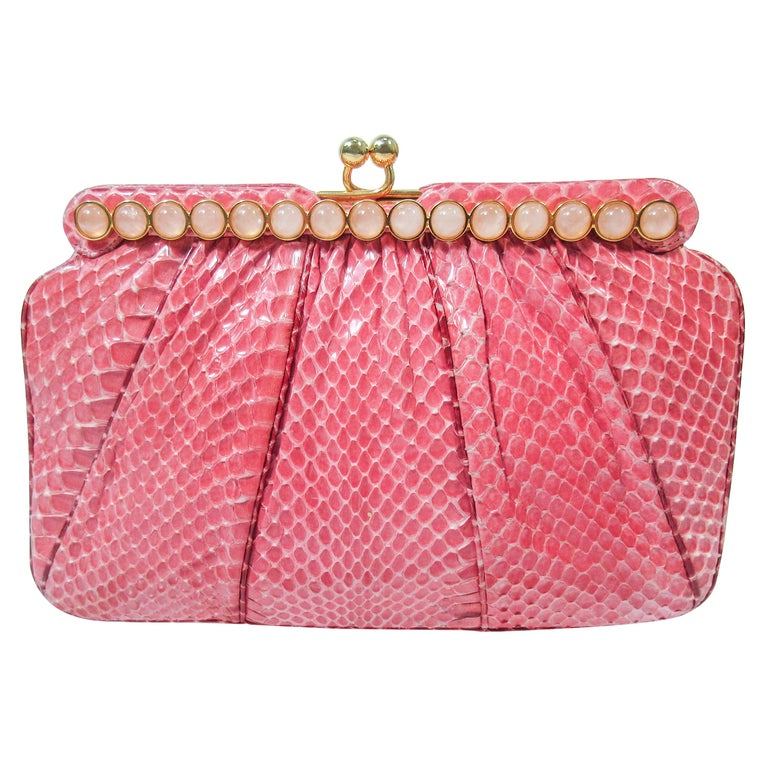 JUDITH LEIBER Pink Snakeskin Clutch w/ Optional Strap Mirror Coin Purse  For Sale