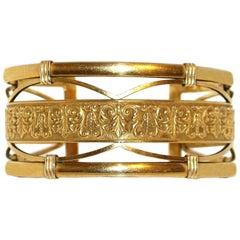 Circa 1930s to 1940s Krementz 14k Gold Overlay Ornate Motif Cuff