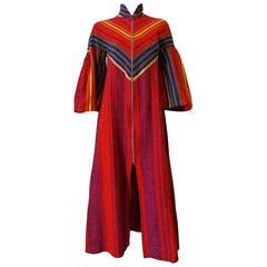 1970s Rikma Rainbow Asymmetrical Striped Zip-Up Dress
