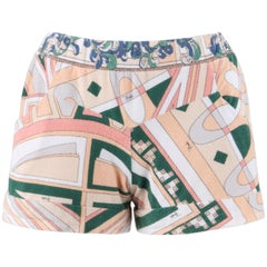 EMILIO PUCCI S/S 2009 Op Art Signature Print Terry Cloth Beach Cover Shorts