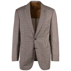 Brioni Men Brown Wool Houndstooth Check Colosseo Sportscoat- 40 R