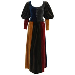 1970 Yves Saint Laurent Corset Lace-Up Mutton Sleeve Velvet Blouse & Maxi Skirt