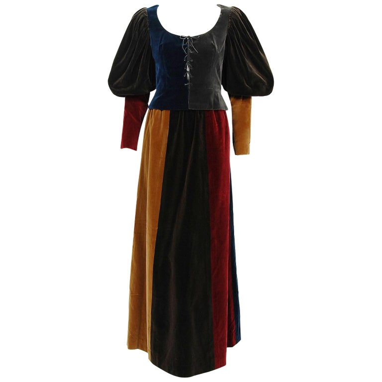 1970 Yves Saint Laurent Corset Lace-Up Mutton Sleeve Velvet Blouse & Maxi Skirt For Sale