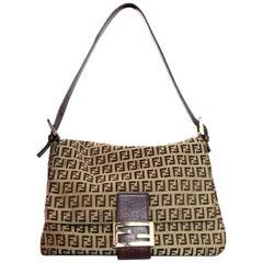 Fendi Brown Canvas Monogram Zucca Mama Baguette Bag W/ FF Flap