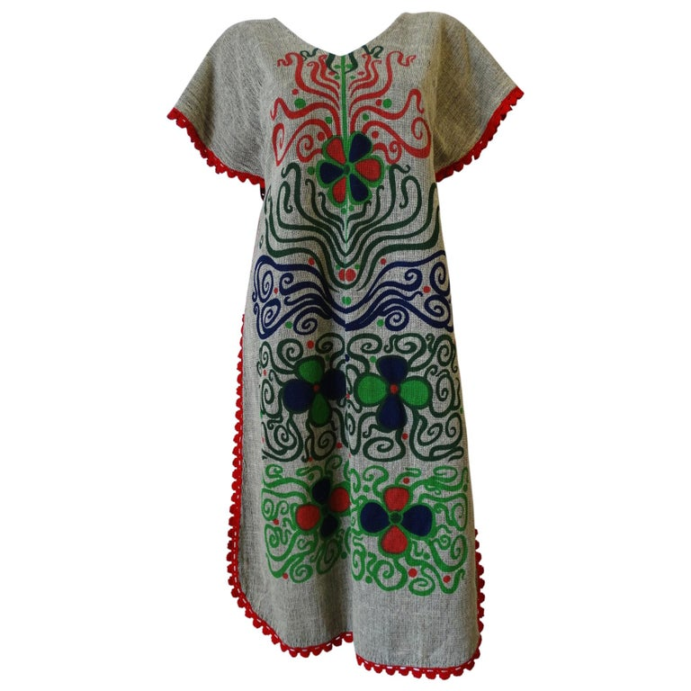 1970s Rikma Floral & Vines Motif Apron Dress