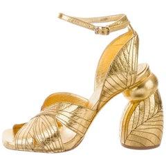 Dries Van Noten NEW Gold Leather Block Heel Evening Sandals Heels in Box