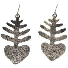Heart Plant Earrings, dangle silver cast earrings Melanie Yazzie Heart plant