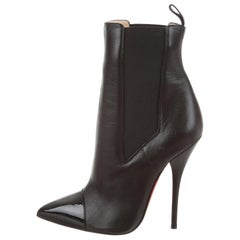 Christian Louboutin NEW Black Leather Patent Pointy Evening Ankle Boots Booties