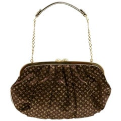Louis Vuitton Brown Gold Monogram Snakeskin 2 in 1 Evening Clutch Shoulder Bag