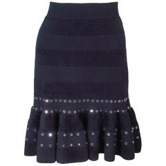 ALEXANDER MCQUEEN Black Stretch Fitted Flare Skirt with Rivet Accents Size 4 6 8