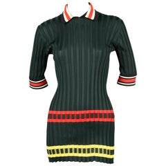 CELINE by PHOEBE PHILO green ribbed runway tunic top with stripes