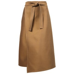 CELINE by PHOEBE PHILO tan wrap skirt with pockets