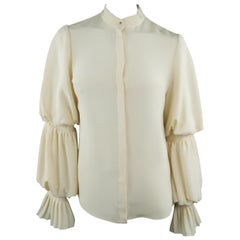 ALEXANDER MCQUEEN Size 4 Cream Silk Layered Bishop Ruffle Sleeve Blouse
