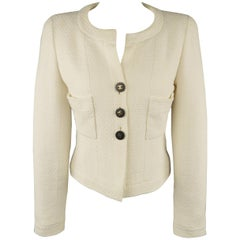 Vintage CHANEL Jacket - Size 6 White Cotton Tweed Cropped CC Jacket Runway 1995